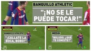 """El cruce de palabras del banquillo del Athletic y Messi: """"¡Cállate la boca, bobo!"""""""