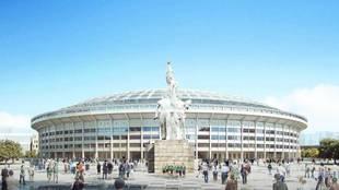 Proyecto del nuevo Estadio de los Trabajadores, hogar del Beijing...