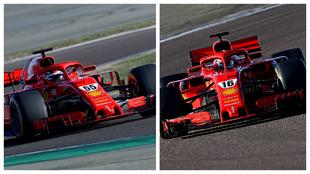 Sainz y Leclerc, al volante del SF71-H de 2018 durante el test de...