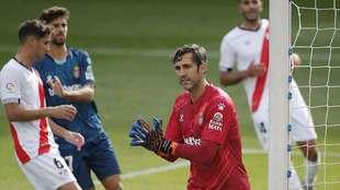 Diego López, en el partido del Espanyol en Vallecas ante el Rayo,...