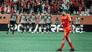 Celebración del gol del Al Ahly.