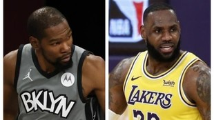 Kevin Durant con los Nets y LeBron James con los Lakers.