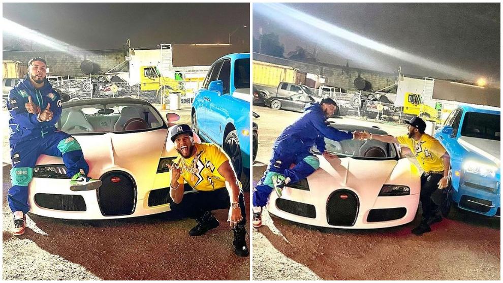 Anuel y El Alfa, con el Veyron Grand Sport Vitesse del puertorriqueño.