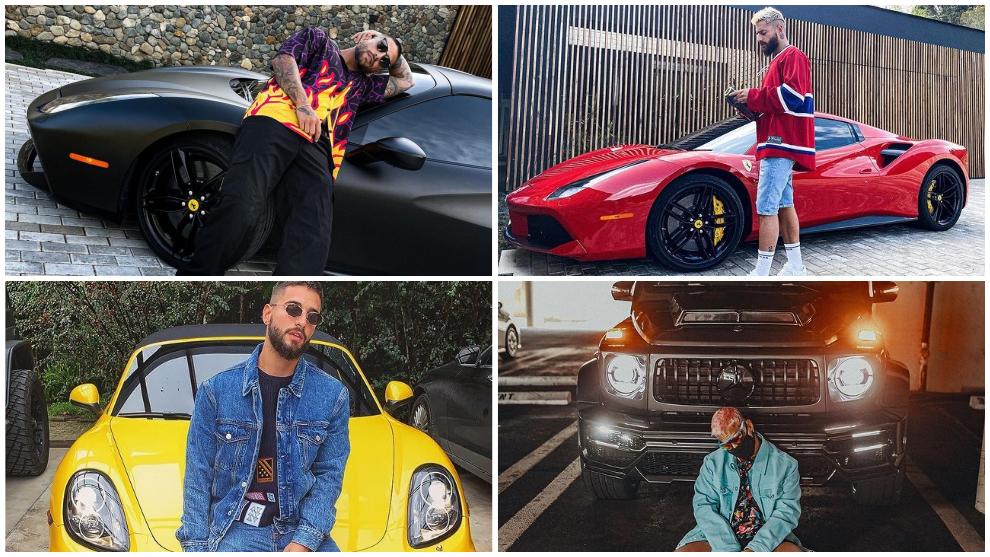 El cantante colombiano Maluma, con sus dos Ferrari, un Porsche y un Mercedes AMG.