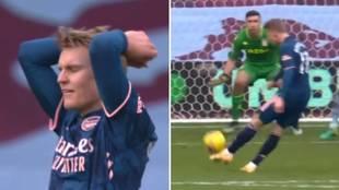 Odegaard tuvo la mejor del Arsenal para el empate... pero la mandó a las nubes