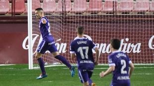 Djurdjevic celebra el segundo gol que le marcó  a la UD Logroñés