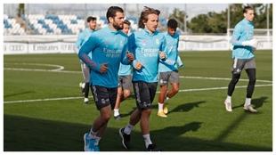 Modric y Nachl en el entrenamiento de esta mañana.