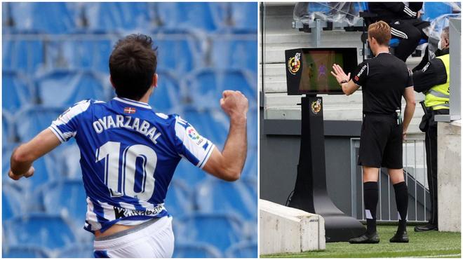 Oyarzabal celebra un gol y Pizarro Gómez acude al monitor.