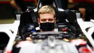 Mick Schumacher, en su debut como piloto de Haas en Abu Dabi.