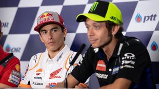 Rossi y Márquez, en rueda de prensa.