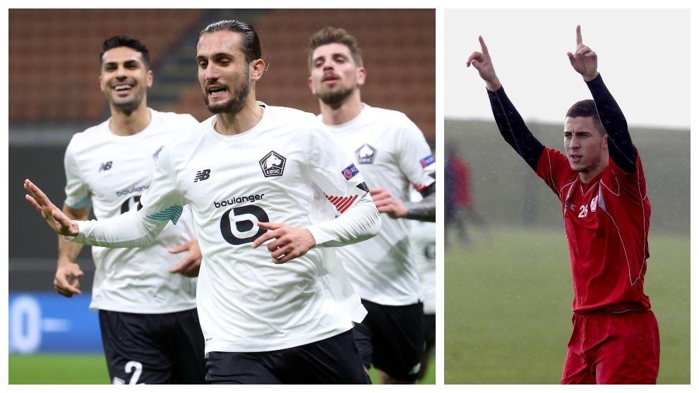 A la izquierda, Yazici celebra un gol en San Siro. A la derecha,...