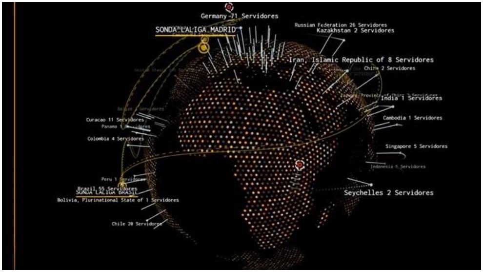Mapa de servidores que maneja el departamento antipiratería de LaLiga.