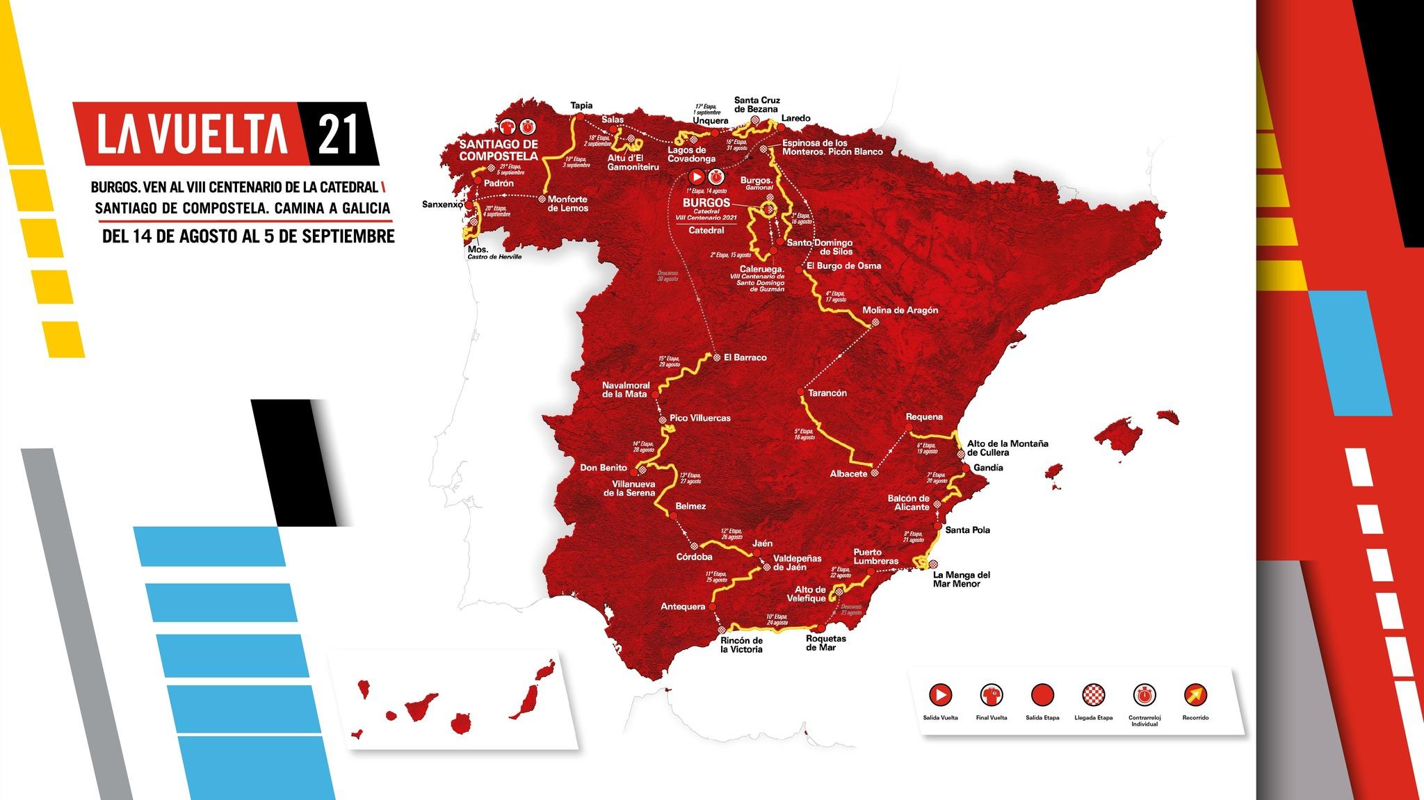 Así es LaVuelta a España 2021: seis nuevas llegadas, crono final en Santiago...