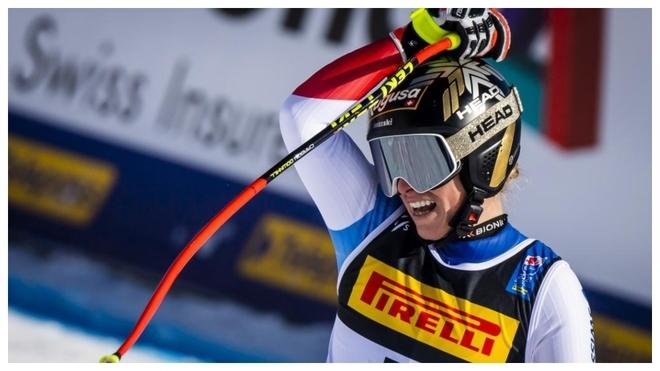 Lara Gut en el Super G del Mundial en Cortina D'ampezzo.