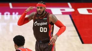 Carmelo Anthony, durante el partido ante los Sixers.