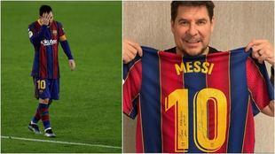 Marcelo Claure posa con la camiseta que le mando Leo Messi.