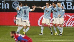 Jugadores del Celta, celebrando un gol en una imagen de archivo