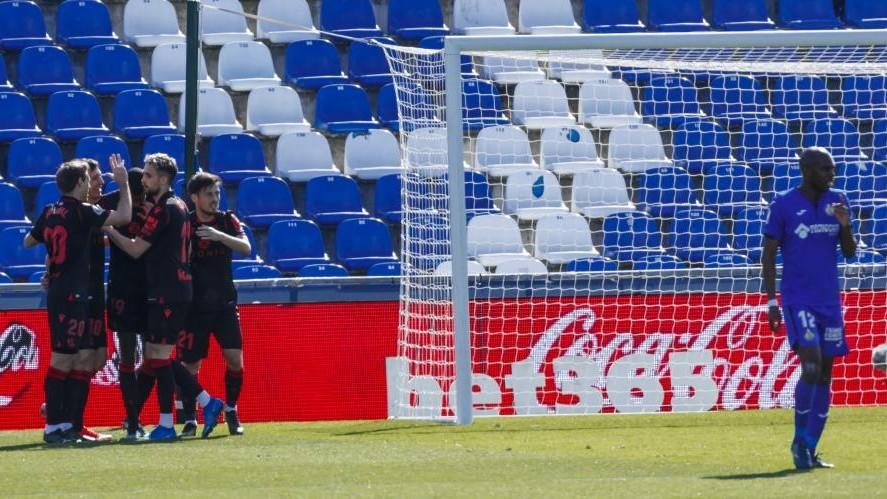 Real Sociedad celebrate Isak's goal