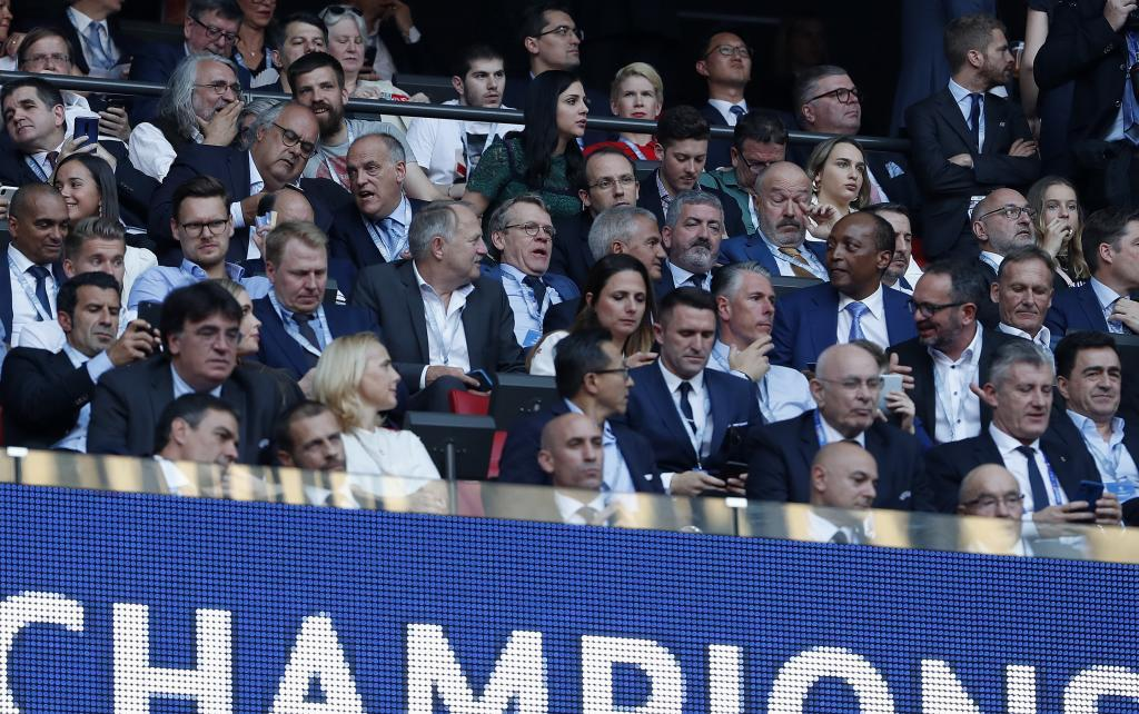 Tebas and Rubiales at 2019 Champions League final