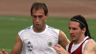 Zabaleta y Messi, en una sesión con Argentina
