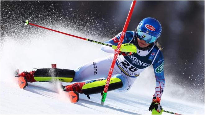 Mikaela Shiffrin, durante el slalom de la combinada.