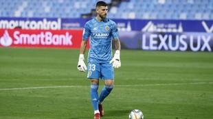 Álvaro Ratón, durante un partido con el Real Zaragoza.
