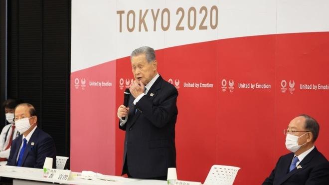 El exprsidente de Tokio 2020 Yoshiro Mori en una reunión