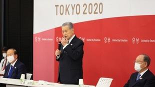 El exprsidente de Tokio 2020, Yoshiro Mori, en una reunión.