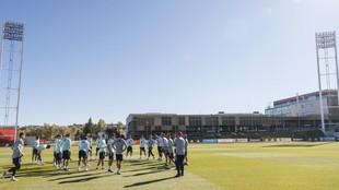 La selección, entrenando en la Ciudad del Fútbol de Las Rozas.