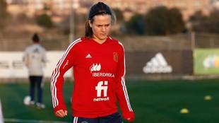 Irene Paredes durante un entrenamiento en la Ciudad del Fútbol de Las...
