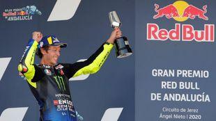 Valentino Rossi, en su último podio en MotoGP, en el GP de Andalucía...