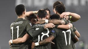 Festejo del Manchester United ante la Real Sociedad.