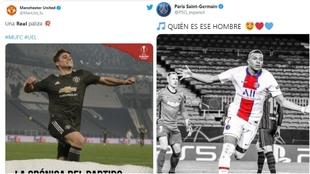 Montaje con tuits de PSG y Manchester United