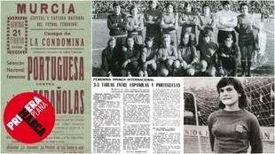 Cartel y crónica del primer partido de la selección española...