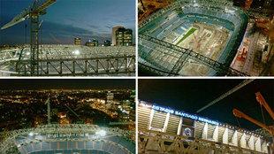 Hipnótico: así se ven las obras del Bernabéu desde el aire con el atardecer sobre Madrid