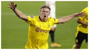 Haaland celebra un gol en el partido de Champions de esta semana...