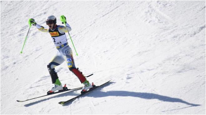 Foss-Solevaag, tras ganar el slalom.