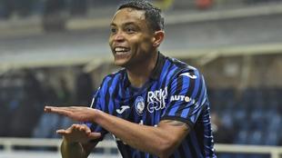 Muriel celebra su gol, el 3-1 ante el Nápoles