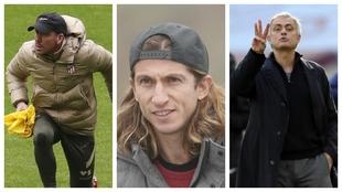 Un montaje fotográfico con Simeone, Filipe Luis y Mourinho.
