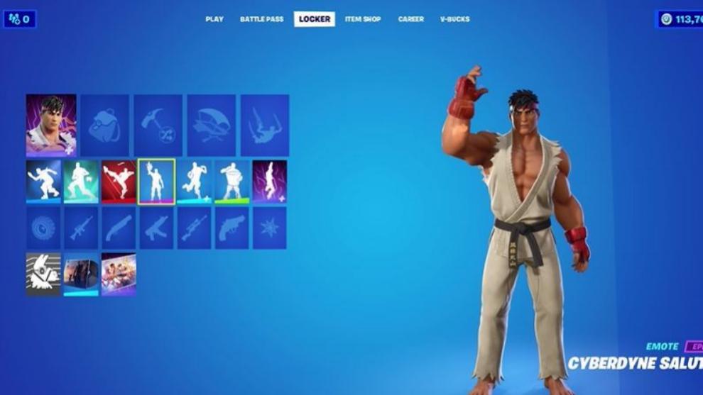 Así luce Ryu, personaje emblemático de Street Fighters, en la tienda de Fortnite battle royale.
