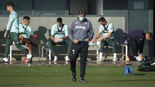 Pellegrini, en un entrenamiento