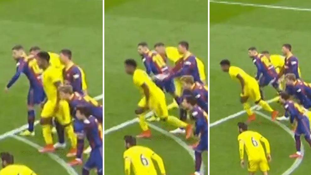 Lenglet's ugly push on Choco Lozano during Fernandez's penalty kick