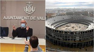 El alcalde de Valencia y las obras del nuevo Mestalla paralizadas.