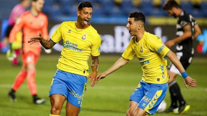 Maikel Mesa celebra un gol con Las Palmas.