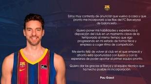 Pau Gasol fichaje Barcelona Basket