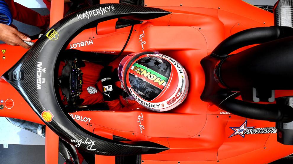Leclerc, en Monza, en el GP de Italia 2019.