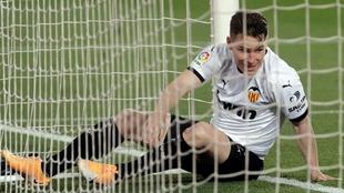 Kevin Gameiro, en el partido del Valencia contra el Celta en Mestalla.