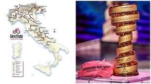 Mapa de Itlaia con el trofeo del Giro