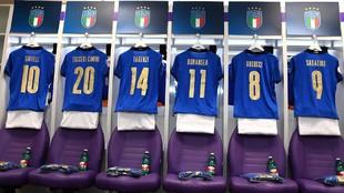 Vestuario de la selección italiana antes de medirse a Israel.