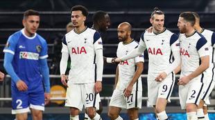 Festejo del Tottenham ante Wolfsberger en la Europa League.